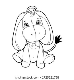Black and white coloring for children. Vector illustration. A donkey
