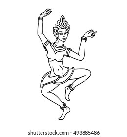 Black and white coloring contour of oriental woman dancer