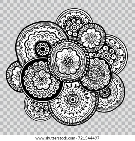 Black White Coloring Floral Tattoo Artwork Stockvector Rechtenvrij