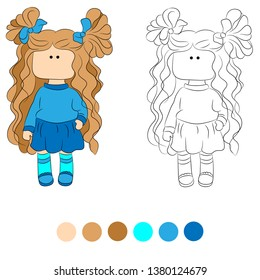 Black and white coloring for kids. Vector illustration. Ragdoll