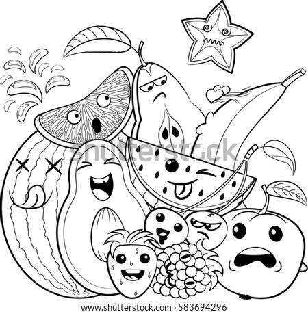 Black White Coloring Page Cute Doodle Stock Vector