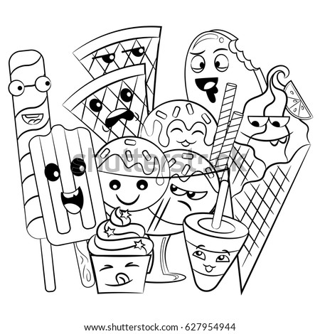 Black White Coloring Page Cute Sweet Stock Vector (Royalty Free ...
