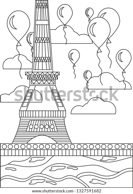 Black White Coloring Page Eiffel Tower Stock Vector (Royalty Free)  1327591682