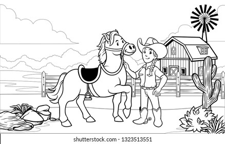 black and white coloring page happy cowgirl with her horse