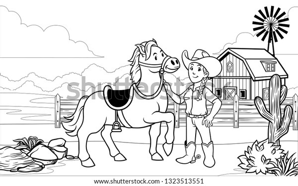 Black White Coloring Page Happy Cowgirl Stock Vector Royalty Free 1323513551