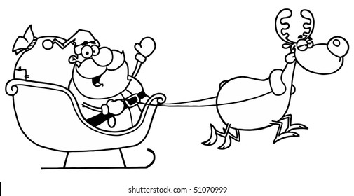 Black And White Coloring Page Outline Of A Reindeer Flying Santa's Sleigh