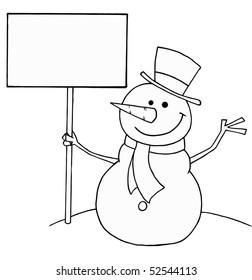 snowman outline images stock photos vectors shutterstock https www shutterstock com image vector black white coloring page outline snowman 52544113