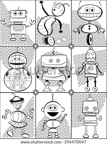 Black White Coloring Page Robots Stock Vector Royalty Free