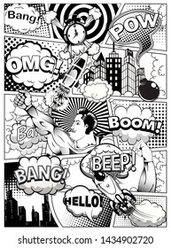 Black and white comic book page divided by lines with speech bubbles, rocket, superhero hand and sounds effect. Vector illustration