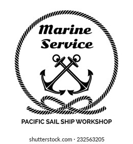 Black and White Company Logo Graphic Design for Yachting Marine Service Business. Emphasizing Anchors Inside a Rope.