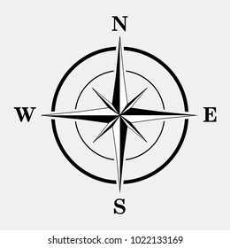 Black and white compass icon. Vector illustration