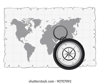 black and white compass over old map. vector illustration