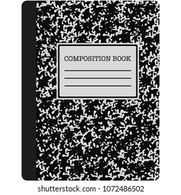 Black and White Composition Book Illustration - Classic black and white composition book used in school isolated on white background