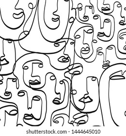 Black and white composition with cubism face drawing. Abstract contemporary background. Modern portrait of a woman or man. One line continuous.