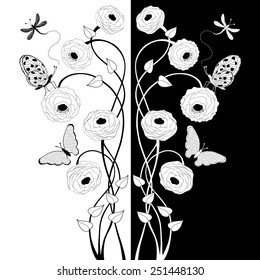 Black and white composition with flowers and butterflies
