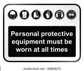 Black and white construction manufacturing and engineering health and safety related sign isolated on white background
