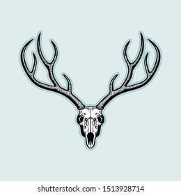 Black & White Cool Deer Skull Vector