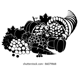 Black and White Cornucopia Highly detailed cornucopia silhouette. EPS 8 vector, grouped for easy editing. Each vegetable can be used separately.