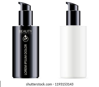 Black and white cosmetic bottle with black pump dispenser lid for moisturizer and facial liquid products. Vector design template. Cosmetics packaging mockup. Realistic 3d illustration.