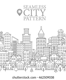 Black and White Cover Design or Seamless Pattern with Endless City. Funny Urban Background. Modern Vector Illustration in Flat Style