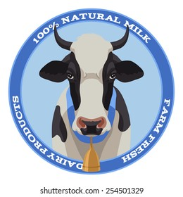 Black and white cow label with bell, front view, blue style