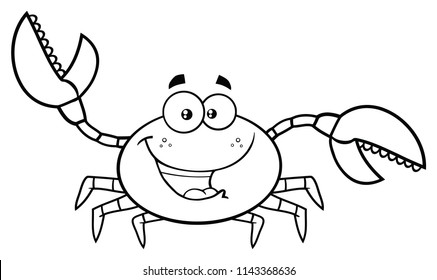 Black And White Crab Cartoon Mascot Character Waving For Greeting. Vector Illustration Isolated On White Background