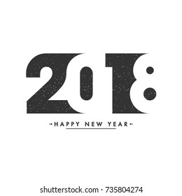 Black and white Creative text 2018 for celebration of New Year.