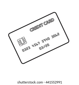 Black and white credit card isolated on white background.