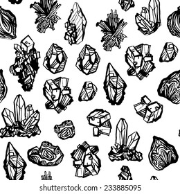 Black and white crystals minerals rocks hand drawing vector seamless pattern on white background. Vector seamless pattern with gems minerals. Vector seamless background. Seamless pattern with gems.