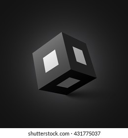 Black and white cube. Square box. Vector illustration.