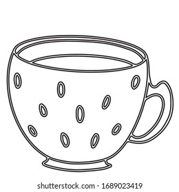 Black and white Cup, graphics. Suitable for office design, textiles, can be used for making patterns, can be used as a self-print
