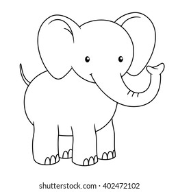 Black and white cute cartoon baby elephant smiling. Coloring book for the children. Vector illustration