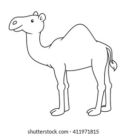 Black and white cute cartoon camel. Coloring book for the children. Vector illustration