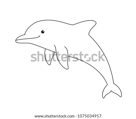 Black White Cute Cartoon Dolphin Coloring Stock Vector Royalty Free