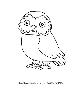 Black And White Cute Cartoon Owl Coloring Pages For The Children Vector Illustration