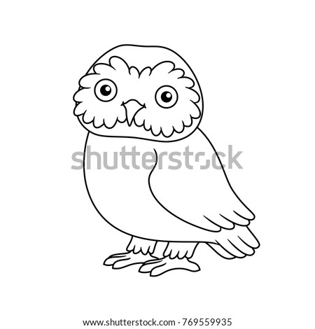 Black White Cute Cartoon Owl Coloring Stock Vector Royalty Free
