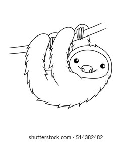 Black and white cute cartoon sloth hanging on tree branch. Coloring book for the children. Vector illustration