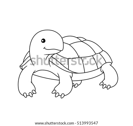 Black White Cute Cartoon Turtle Coloring Stock Vector (Royalty Free ...