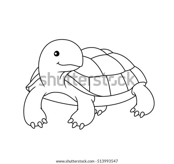 Siyah Ve Beyaz Sevimli Karikatur Kaplumbaga Stok Vektor Telifsiz