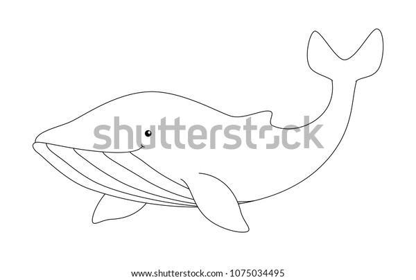 Black White Cute Cartoon Whale Coloring Stock Vector Royalty Free 1075034495