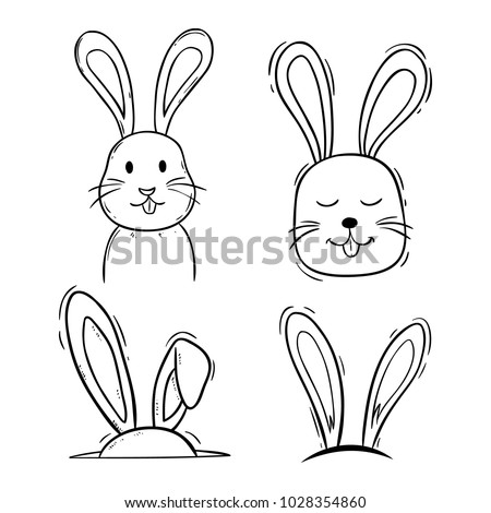 Black White Cute Easter Bunny Doodle Stock Vector Royalty Free