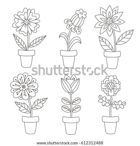 Black white cute flower pots floral stock vector royalty free black and white cute flower pots floral vector set doodle plants mightylinksfo