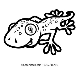 Black and White Cute Gecko Crawling Illustration in Cartoon Style for Coloring Book