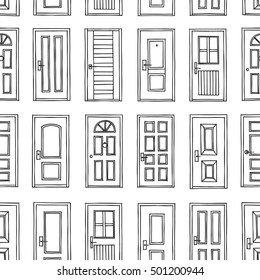 Black and White Cute Kids Seamless Pattern. Repetitive Texture with Hand Drawn Doors. Vector Ink Doodle Baby Background. Cartoon Ornament