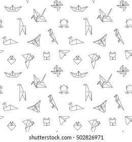 Black and White Cute Kids Seamless Pattern. Repetitive Texture with Hand Drawn Origami Animals and Objects. Vector Ink Doodle Baby Background. Cartoon Ornament