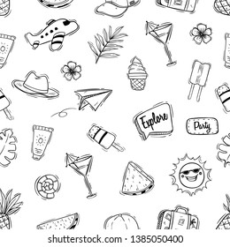 Black and white cute summer illustration in seamless pattern with doodle style