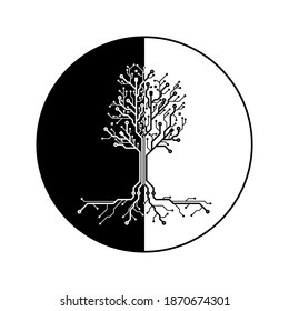 black and white cyber tree future technology natural resources in half black and white circle isolated on white background, PCB. vector symbol design illustration.