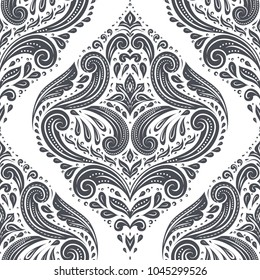 Black and white damask vector seamless pattern, wallpaper. Elegant classic texture. Luxury ornament. Royal, Victorian, Baroque elements. Great for fabric and textile, wallpaper, or any desired idea.