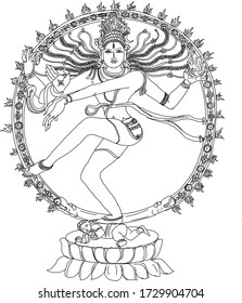 Black and White Dancing Hindu Lord. Vector Illustration.