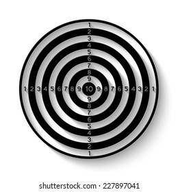 black and white dartboard icon - vector illustration with shadow